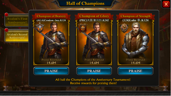 You can collect prizes every day for praising the champions